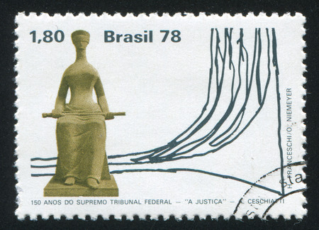 law of brazil: BRAZIL - CIRCA 1978: stamp printed by Brazil, shows  Justice by Geschiatti, circa 1978 Editorial