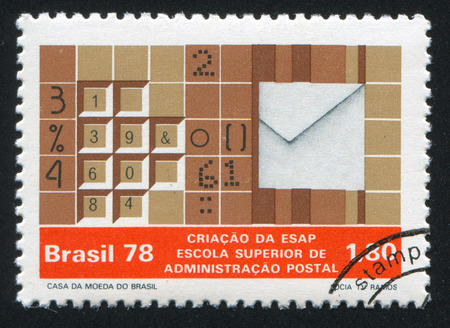 mechanization: BRAZIL - CIRCA 1978: stamp printed by Brazil, shows  Symbols of Postal Mechanization, circa 1978 Editorial