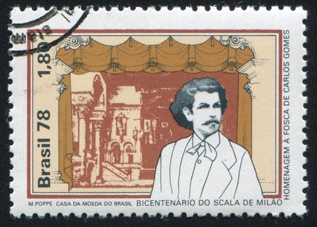 composer: BRAZIL - CIRCA 1978: stamp printed by Brazil, shows  La Scala Stage and Carlos Gomes Brazilian composer, circa 1978 Editorial