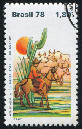herdsman: BRAZIL - CIRCA 1978: stamp printed by Brazil, shows  Gaucho Herding Cattle and Cactus, circa 1978
