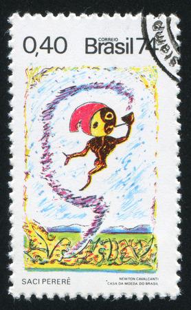 folk tales: BRAZIL - CIRCA 1974: stamp printed by Brazil, shows  Saci Perere Mocking Goblin, circa 1974