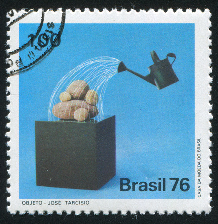 bailer: BRAZIL - CIRCA 1976: stamp printed by Brazil, shows  Watering Can over Stones by Jose Tarcisio, circa 1976 Editorial
