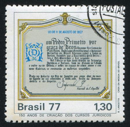 proclamation: BRAZIL - CIRCA 1977: stamp printed by Brazil, shows  Dom Pedro's Proclamation, circa 1977