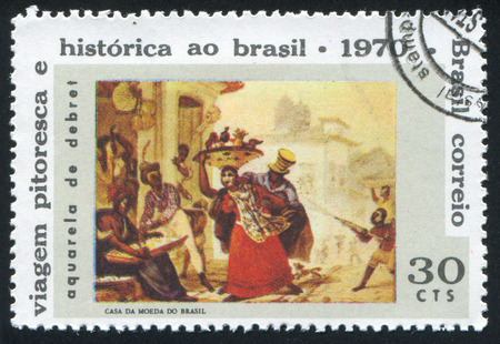 BRAZIL - CIRCA 1970: stamp printed by Brazil, shows   slaves, painting by Jean Baptiste Debret (1768-1848), circa 1970