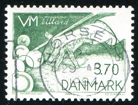 snooker hall: DENMARK - CIRCA 1984: stamp printed by Denmark, shows billiard, circa 1984 Editorial