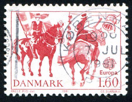 tilting: DENMARK - CIRCA 1981: stamp printed by Denmark, shows Tilting at a Barrel, on Shrovetide, circa 1981