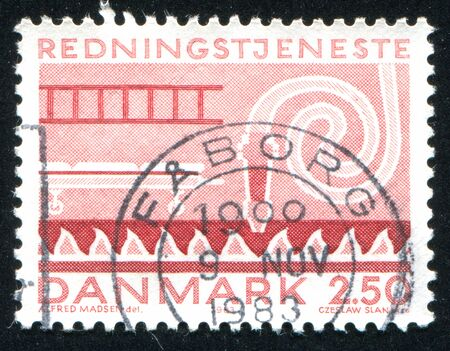 ambulatory: DENMARK - CIRCA 1983: stamp printed by Denmark, shows emergency equipment, circa 1983