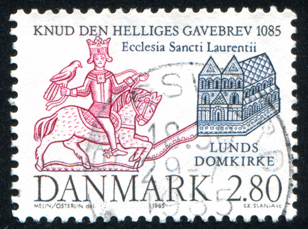 DENMARK - CIRCA 1985: stamp printed by Denmark, shows Seal of King Cnut and Lund Cathedral, circa 1985