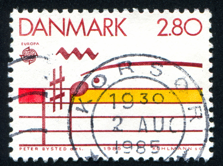 musical staff: DENMARK - CIRCA 1985: stamp printed by Denmark, shows Musical staff, circa 1985