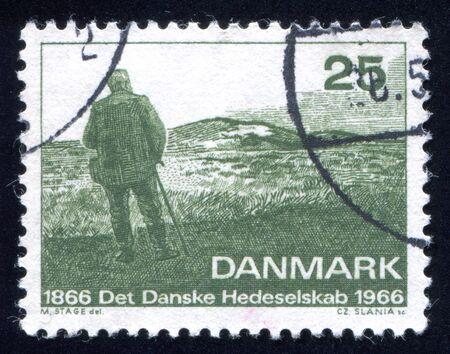 surveying: DENMARK - CIRCA 1966: stamp printed by Denmark, shows Mylius Dalgas Surveying Wasteland, circa 1966