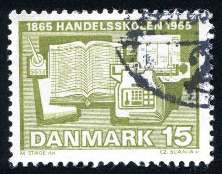ledger: DENMARK - CIRCA 1965: stamp printed by Denmark, shows Calculator Ledger and Inkwell, circa 1965