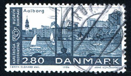 DENMARK - CIRCA 1986: stamp printed by Denmark, shows Aalborg Harbor, circa 1986