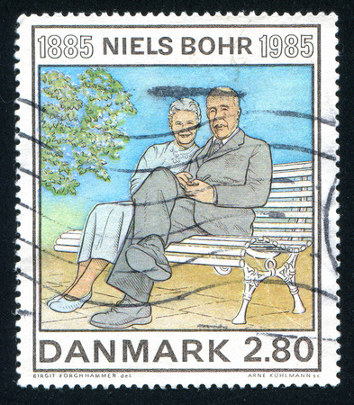 physicist: DENMARK - CIRCA 1985: stamp printed by Denmark, shows Niels Bohr Physicist, circa 1985 Editorial