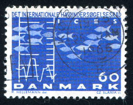 ichthyology: DENMARK - CIRCA 1964: stamp printed by Denmark, shows Fish and Chart, circa 1964