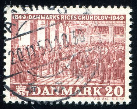 legislative: DENMARK - CIRCA 1949: stamp printed by Denmark, shows Legislative Assembly, circa 1949 Editorial