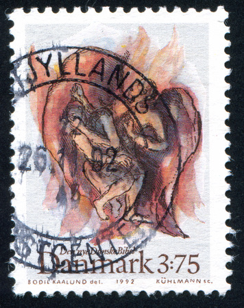 jacob: DENMARK - CIRCA 1992: stamp printed by Denmark, shows Jacob fight with angel, circa 1992