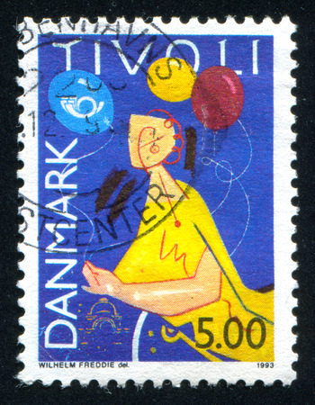 DENMARK - CIRCA 1993: stamp printed by Denmark, shows Balloons, by Wilhelm Freddie, circa 1993 Stock Photo - 36137731