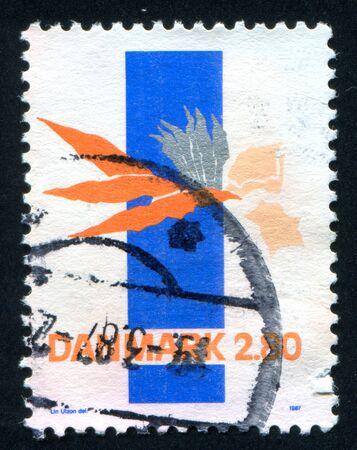 utzon: DENMARK - CIRCA 1987: stamp printed by Denmark, shows Abstract by Lin Utzon, circa 1987 Editorial