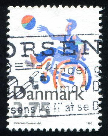 disabled sports: DENMARK - CIRCA 1996: stamp printed by Denmark, shows Sports for disabled, circa 1996