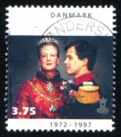 prince of denmark: DENMARK - CIRCA 1997: stamp printed by Denmark, shows Queen Margrethe With Crown Prince Frederik, circa 1997