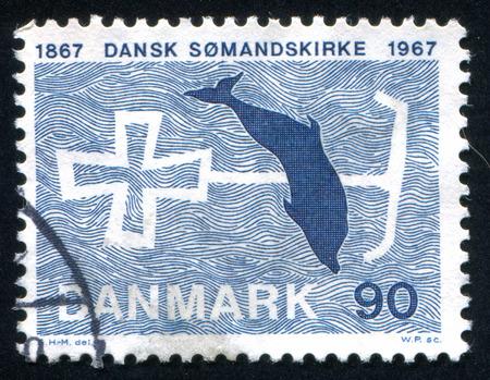 DENMARK - CIRCA 1967: stamp printed by Denmark, shows Cross-anchor and Porpoise, circa 1967