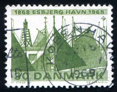 esbjerg: DENMARK - CIRCA 1968: stamp printed by Denmark, shows Esbjerg Harbor, circa 1968