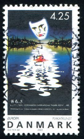 DENMARK - CIRCA 2003: stamp printed by Denmark, shows Poster for Copenhagen International Theater Festival, by Ole Fick, circa 2003