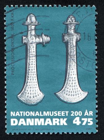 war decoration: DENMARK - CIRCA 2007: stamp printed by Denmark, shows Ceremonial axes, circa 2007