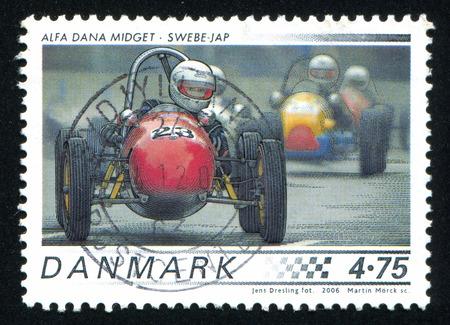 midget: DENMARK - CIRCA 2006: stamp printed by Denmark, shows Race Cars, Alfa Dana Midget, circa 2006