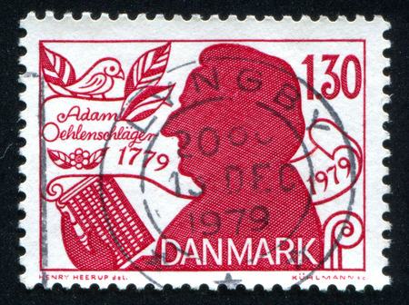 dramatist: DENMARK - CIRCA 1979: stamp printed by Denmark, shows Adam Oehlenschlager, Poet and Dramatist, circa 1979