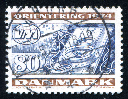 magnetic north: DENMARK - CIRCA 1974: stamp printed by Denmark, shows Compass, World Orienteering Championships, circa 1974