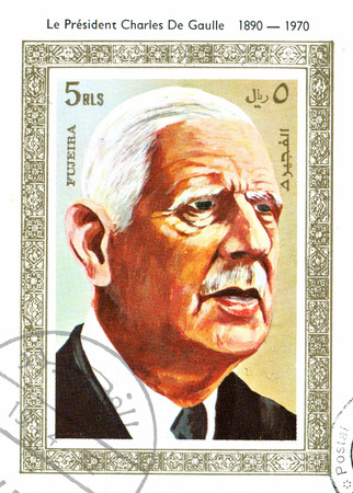 charles de gaulle: FUJEIRA - CIRCA 1974: stamp printed by Fujeira, shows Charles de Gaulle, circa 1974