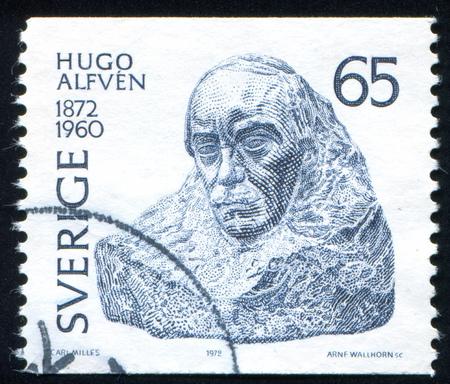 hugo: SWEDEN - CIRCA 1972: stamp printed by Sweden, shows Hugo Alfven, by Carl Milles, circa 1972