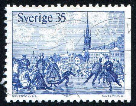 waterways: SWEDEN - CIRCA 1971: stamp printed by Sweden, shows Ice skating on frozen waterways in Stockholm, circa 1971
