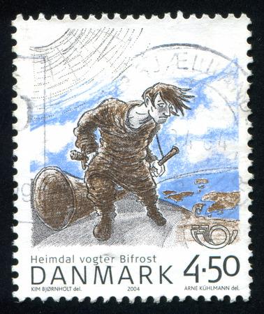 guarding: DENMARK - CIRCA 2004: stamp printed by Denmark, shows Heimdal guarding Bifrost bridge, circa 2004