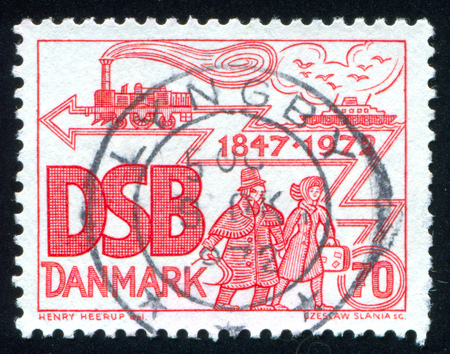 DENMARK - CIRCA 1972: stamp printed by Denmark, shows anniversary of Danish State Railways, circa 1972