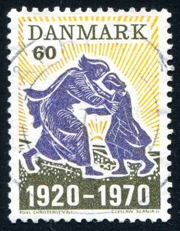 homecoming: DENMARK - CIRCA 1970: stamp printed by Denmark, shows The Homecoming by Povl Christensen, circa 1970 Editorial