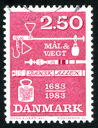 ordinance: DENMARK - CIRCA 1983: stamp printed by Denmark, shows Weights and Measures Ordinance, circa 1983 Editorial