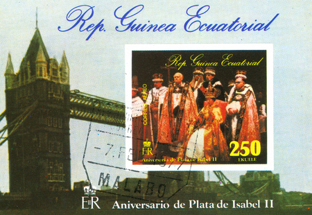 coronation: EQUATORIAL GUINEA - CIRCA 1977: stamp printed by Equatorial Guinea, shows Queen Elizabeth coronation, circa 1977