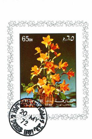 シャルジャおよび依存関係を示しています花と花瓶, 1972 年頃によって印刷されるシャルジャおよび依存関係 - 1972 年頃: スタンプ 写真素材 - 36605918
