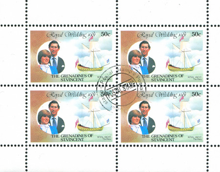 lady diana: ST. VINCENT GRENADINES - CIRCA 1981: stamp printed by St. Vincent Grenadines, shows Diana and Charles, circa 1981. Editorial