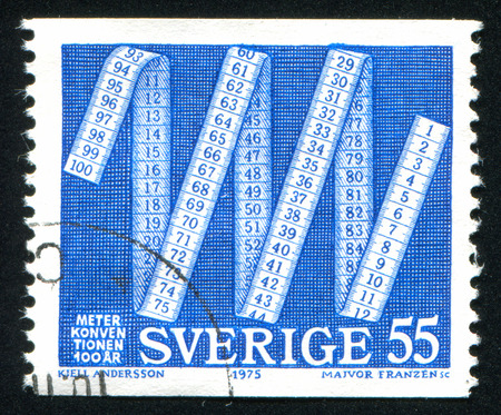 metric: SWEDEN - CIRCA 1975: stamp printed by Sweden, shows Metric Tape Measure, circa 1975