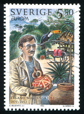 house donkey: SWEDEN - CIRCA 1994: stamp printed by Sweden, shows Erland Nordenskiold explored South America, circa 1994