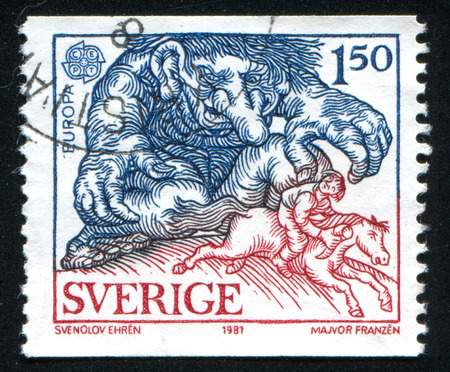troll: SWEDEN - CIRCA 1981: stamp printed by Sweden, shows Troll Chasing Boy, circa 1981 Editorial