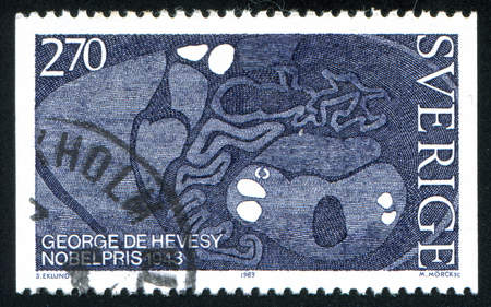 electrophoresis: SWEDEN - CIRCA 1983: stamp printed by Sweden, shows Electrophoresis Studies George De Hevesy, circa 1983 Editorial