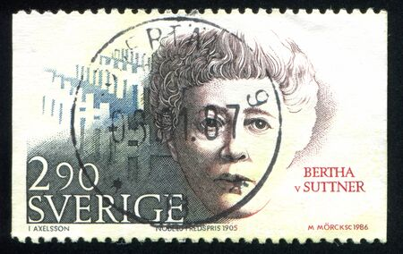 nobel: SWEDEN - CIRCA 1986: stamp printed by Sweden, shows Nobel Peace Prize Laureates Bertha von Suttner, circa 1986