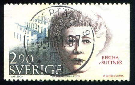 laureates: SWEDEN - CIRCA 1986: stamp printed by Sweden, shows Nobel Peace Prize Laureates Bertha von Suttner, circa 1986