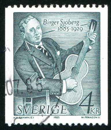 novelist: SWEDEN - CIRCA 1985: stamp printed by Sweden, shows Birger Sjoberg (1885-1929), Journalist, Novelist, Poet, circa 1985