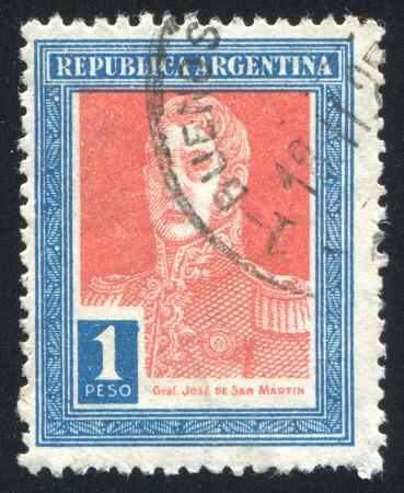 jose de san martin: ARGENTINA - CIRCA 1916: stamp printed by Argentina, shows General Jose de San Martin, circa 1916 Editorial