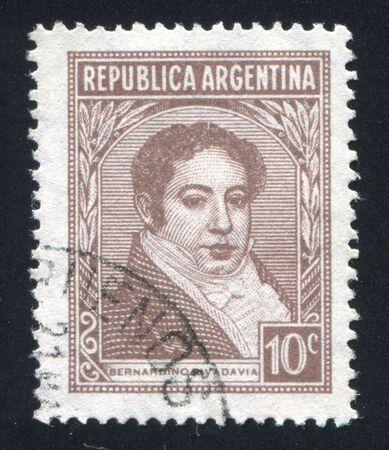 bernardino: ARGENTINA - CIRCA 1935: stamp printed by Argentina, shows Bernardino Rivadavia, circa 1935